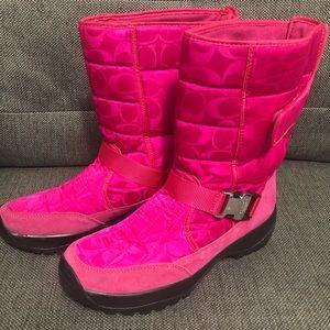 Coach Pink Sharron Monogram Boots